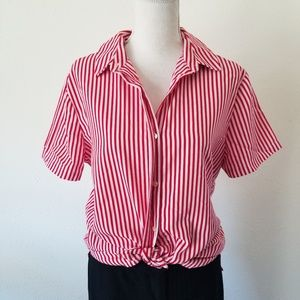 Vintage Jacklyn Smith Vertical Striped Button Top